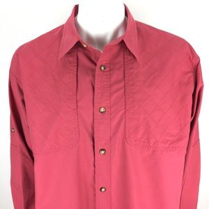 Orvis Quilted Sleeve Tab Safari Shirt Red Large